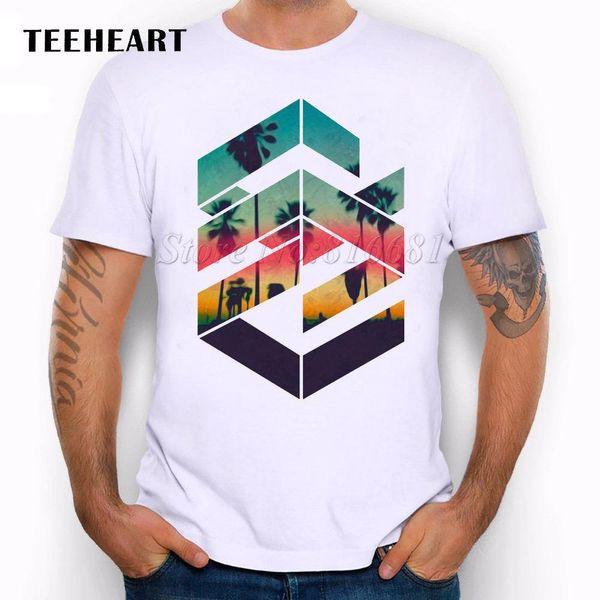 Geometrischer Strand-Sonnenuntergang-buntes kühles Palmen-Meer-lustiges Witz-Mann-T-Shirt T-Stück