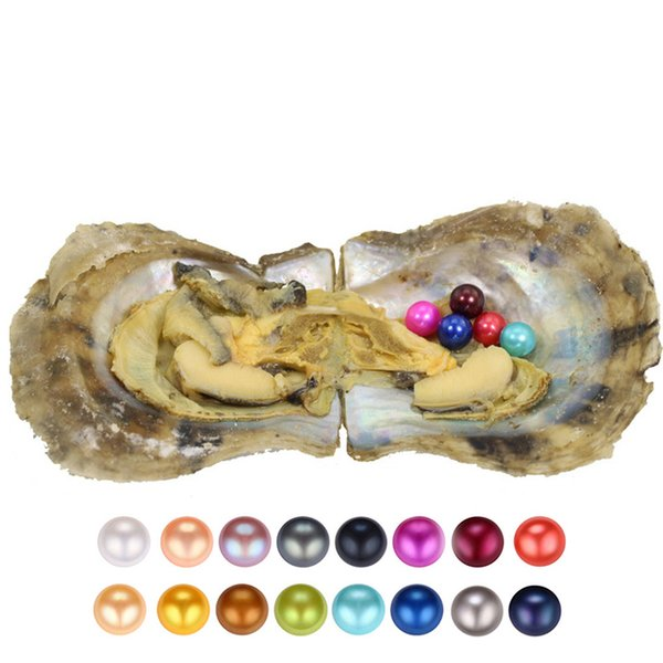 Free shipping 2018 DIY round akoya oyster Jewelry 6-7 mm 25color Seawater pearl oyster as mystery gift with Vacuum Package