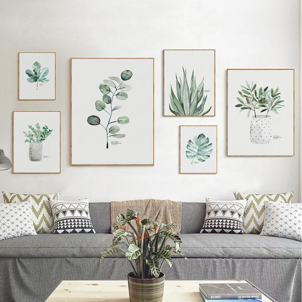 Großhandel Schöne Aquarell Grüne Blüte Pflanze Blatt A4 Leinwand Kunst  Malerei Druckplakat Bild Wand Wohnzimmer Dekoration Wandbild Von Aliceer,  ...