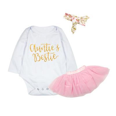 2018 Spring Newborn Baby Girls Clothes 3pcs Aunties Bestie Bodysuit + Tutu Skirt + Headband 3pcs Kids Clothing Set