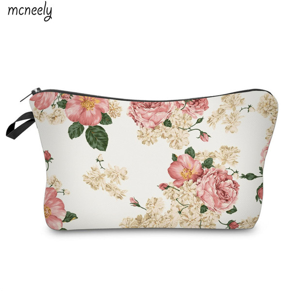 Flower Printing Popular Cosmetic Bag Travel Wash Pouch Zipper Waterproof Make Up Case Make Up Organizer Toiletry Storage
