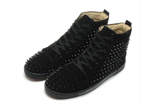 2019New Arrival mens womens black matter leather with black spikes high top sneakers,designer men causal sports shoes Drop shipping