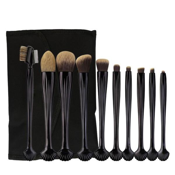 New 10/22PCS Shell Makeup Brushes Set Powder Foundation Eyeshadow Make Up Brushes Cosmetic Brush Soft Synthetic Hair With PU Bag