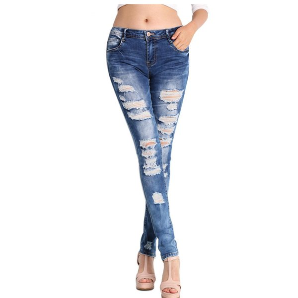 Fashion Low Waist Distressed Jeans New Ladies Cotton Denim Pants Stretch Womens Ripped Skinny Denim Jeans for Female