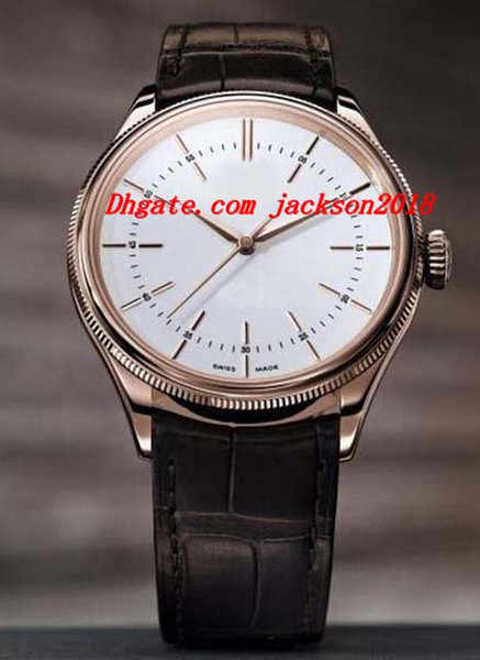 Luxury Wristwatch Time 50505 39mm Rose Gold White Dial Men Strap Watch Tang Mechanical Automatic Men's Watch Top Quality
