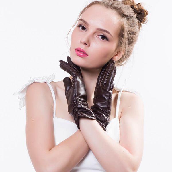 2017 winter Women' Sheepskin Gloves black,wine red Solid Wrist Genuine Leather Gloves & Mittens Real Sheep Fur for women