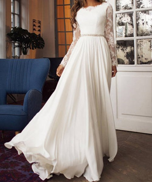 Long Sleeve Vintage Wedding Dress Boat Neck A-line V Backless Lace Chiffon Bridal Gown with Sash Belt