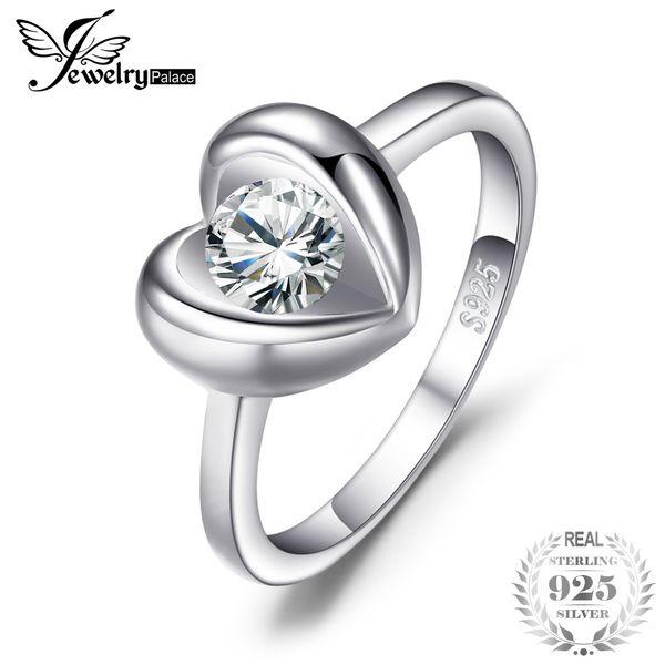 JewelryPalace Love Heart 0.6ct Cubic Zirconia Solitario Anillo de plata de ley 925 Anillo de compromiso Joyería de boda Aniversario