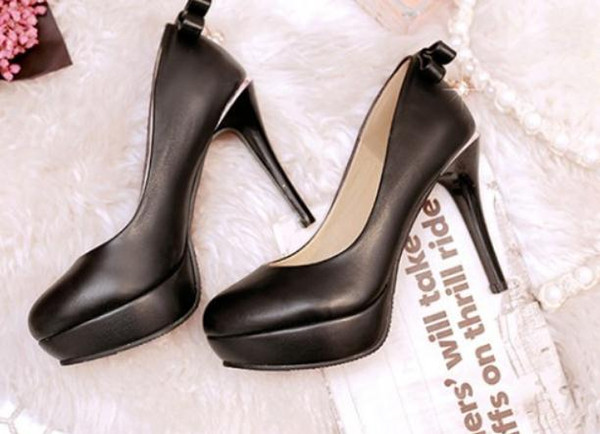 Free send 2018 spring and autumn new style water drill bowknot Fine heel high heel round head waterproof table Princess women's shoes