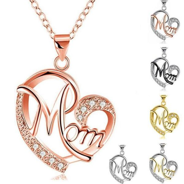Contrast Color Crystal Heart Mom Necklace Pendant Diamond Fashion Crystal Heart Necklaces Love Mom Jewelry Mother's Day Gift