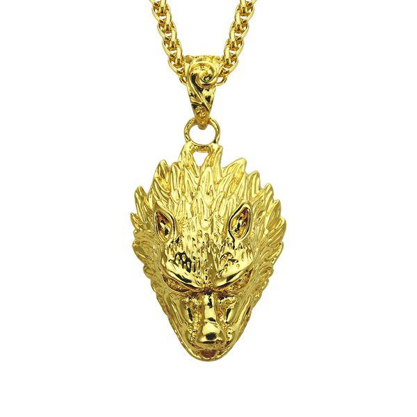 Волчья голова золотой кулон обледенелый Bling Bling Кристалл Шарм крест ожерелье цепь