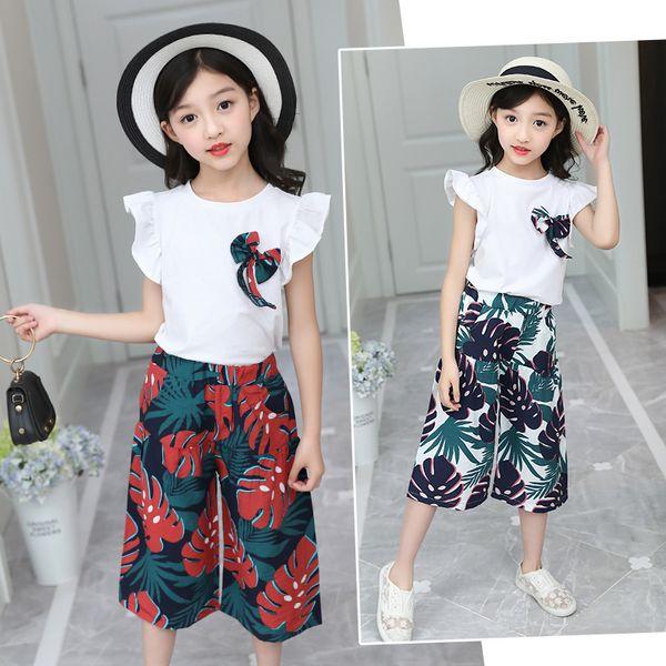 FYH Ropa de Niños de Verano Niñas Coon Camiseta + Pantalones Florales 2 Unids Niñas Ropa de Verano Conjunto de Traje de Ropa de Manga Corta