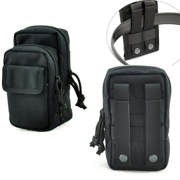 top popular Outdoor Tactical Holster Molle fanny pack Waist Belt Bag mens Wallet police Purse Zipper molle mobile Phone Case for 2-3 pcs phones 2021