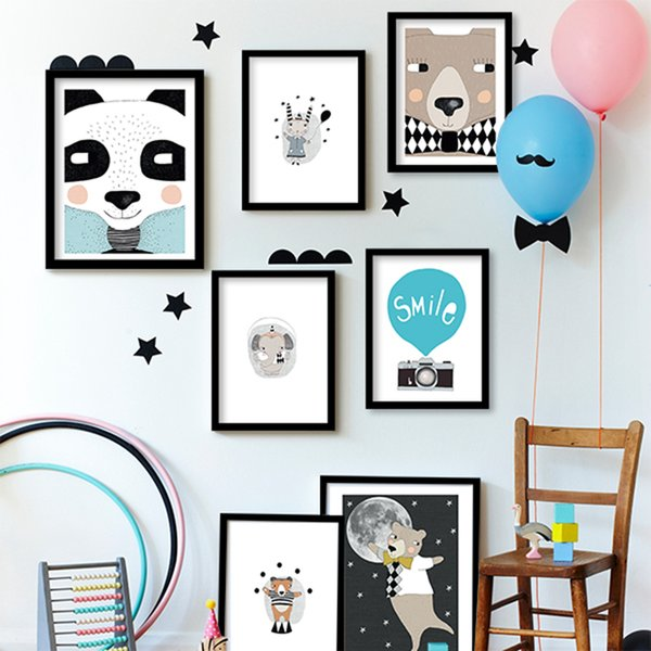 ome Decor Pintura Caligrafia Animais dos desenhos animados Urso Canvas Art Print, Animais pintura cartaz berçário Bear parede pictures for kids room N ...