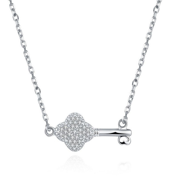Sterling Silver 925 Necklace Lady Party Jewelry Pure Silver Key Pendant Necklace With Zircon Free Shipping n077