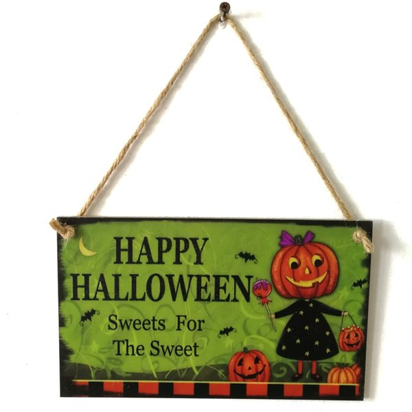 Hanging Happy Halloween Wooden Signs Photo Props Wood Hanging Signs with Ribbon Hang Festival Home Decoration