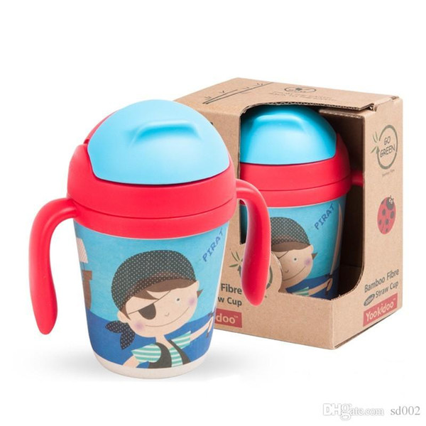 Children Water Bottles Bamboo Fiber Suction Cup With Straw Drink More Water Cute Cartoon Multi Pattern Removable Kettle 30ae ii