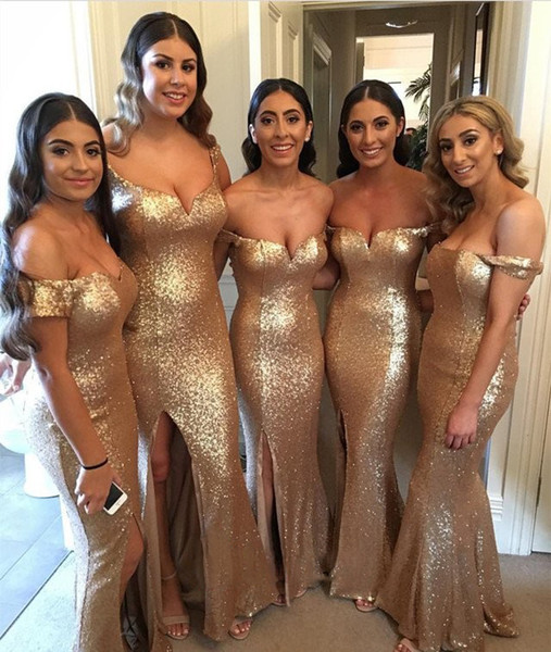 top popular 2019 Hot Selling Sequined Mermaid Bridesmaids Dresses Sexy Side Split Off Shoulder Floor Length Maid of Honor Gowns Custom Made BM0205 2019