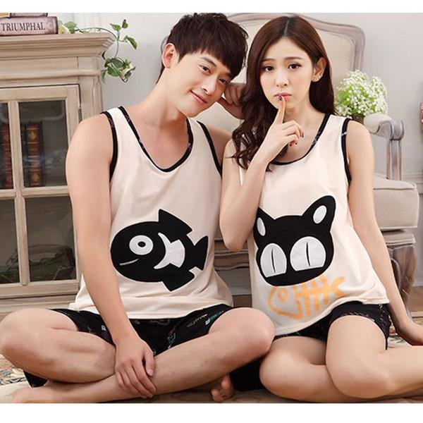 New Summer vest sleeve Lovers pajamas men &women sleepwear silk Cartoon Leisure Home wear clothes loose couple pajamas sets