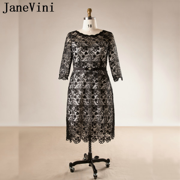 2018 Plus Size Mother Of The Bride Dresses With 3/4 Sleeves Lebanon Lace Tea Length Beaded Groom Mother Evening Gowns Party Dresses