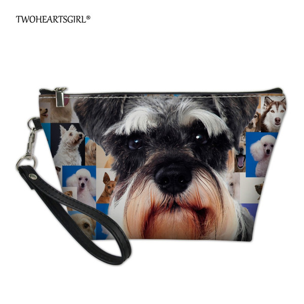 wholesale Cute Korean Style Schnauzer Dog Print Makeup Bag Toiletry Bag for Women Small Pu Leather Teen Girls Cosmetic Case