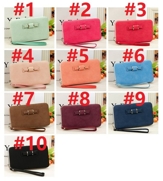 In stock 10 colors Women Bowknot Wallet Long Purse Phone Card Holder Clutch Large Capacity Pocket