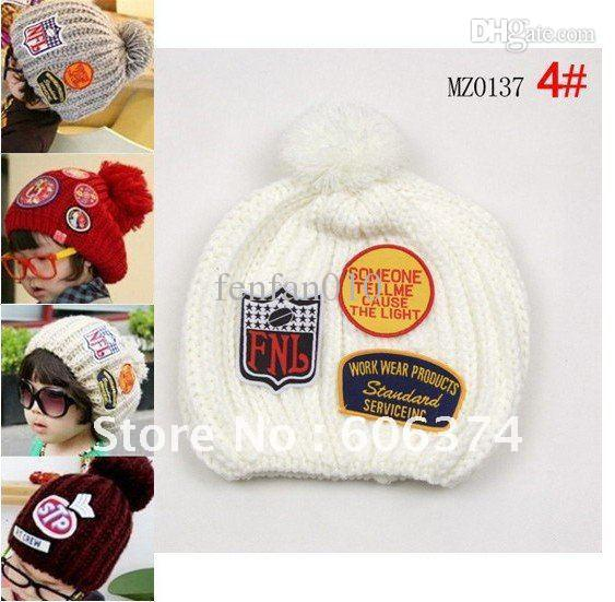 Wholesale-Free shipping children winter hand knitted hat with label baby crocheted cap with tags infant beanie 5pcs/lot KH0020