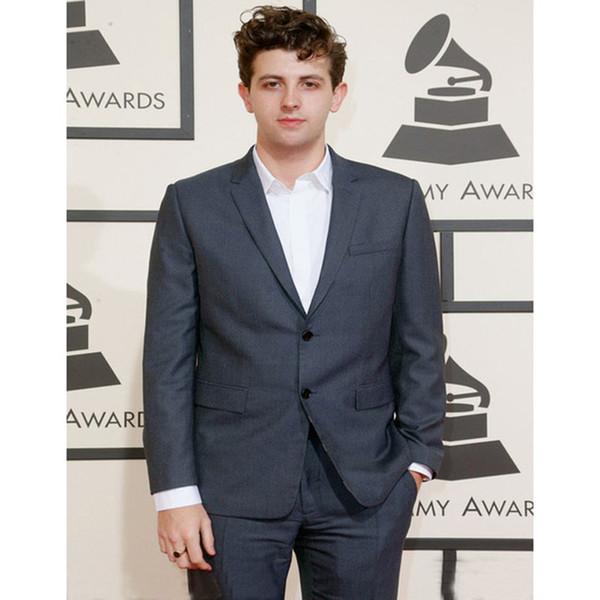 Mens Suits Grey Slim Fit Men Groom Suit Tuxedos Formal Groomsmen Wedding Suits Custom Made Celebrity Suits (Jacket+Pants+Tie)