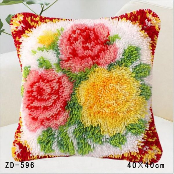 Squre Pillow Without Inserts For Lovely Flower Pillows 3D Fabric Cushion Plants Pillow DIY Carpet Embroidery Rug Kits Knitting Needles Cover