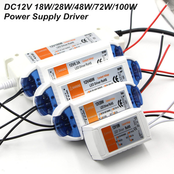 DC12V Güç Kaynağı LED Sürücü Adaptörü Aydınlatma 18 W / 28 W / 48 W / 72 W / 100 W Trafo Anahtarı LED Şerit Işıklar Için