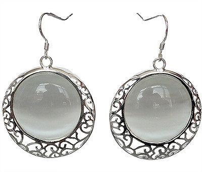 Orecchini in argento sterling 925 naturali vintage opali con occhio di gatto 11/5