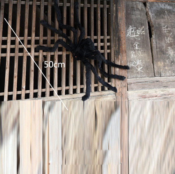 Large Size Plush Black Spider Made Of Wire And Plush Two Style Funny Toy For Party Or Bar KTV Halloween Decoration