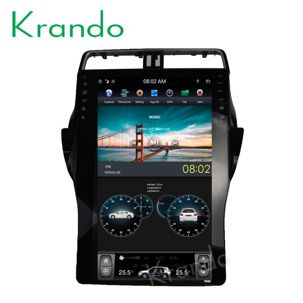 "Krando Android 6.0 16"" Tesla style car dvd audio radio gps navigation for Toyota Prado 2018+ multimedia system player bluetooth"