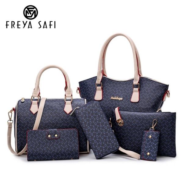 214666aa8ce1 2018 New Women Bags Leather Handbags Fashion Shoulder Bag Female Purse High  Quality 6 Piece Set