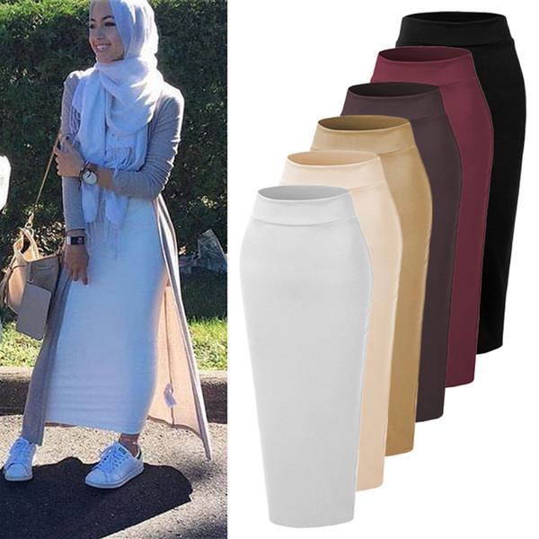 Vestidos Faldas Mujer Moda 2018 UAE Abaya Dubai Kaftan Muslim Lange Bodycon Maxi Rock Kleid Frauen Türkische Islamische Röcke Kleidung