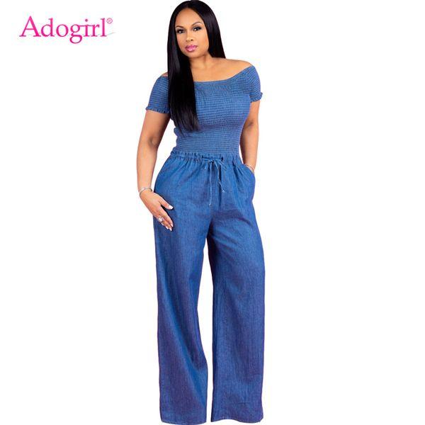 Adogirl Women Loose Jeans Jumpsuit Sexy Slash Neck Off Shoulder Short Sleeve Ruched Bodice Top Wide Leg Pants Denim Rompers