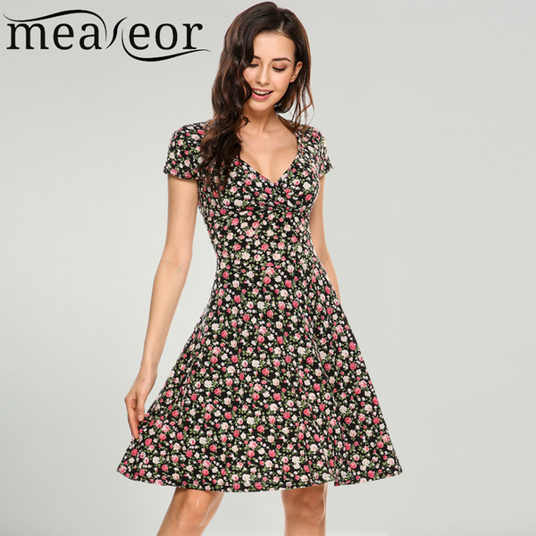 149d3a8cce8b Meaneor Women V-Neck Cap Sleeve Floral Print Flowers Fit and Flare Casual Dress  2018
