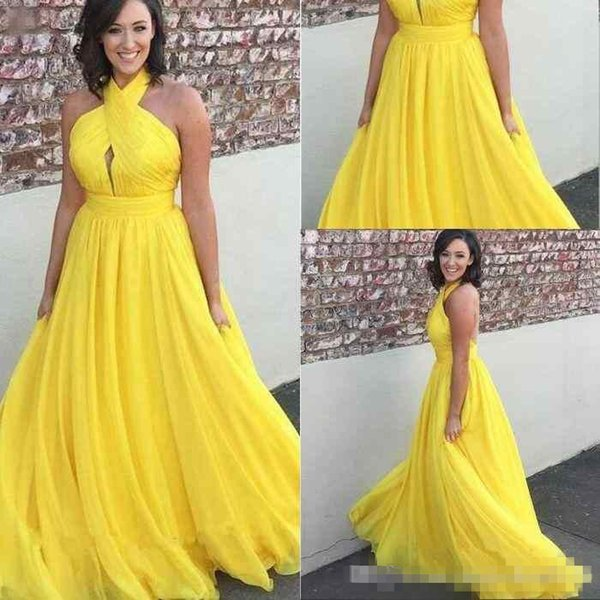 Bright yellow chiffon long prom dresses 2018 halter keyhole open back sexy cocktail party dresses evening gowns Formal Gown Party Wear