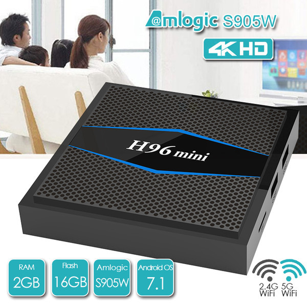 H96 Mini-Smart-TV-Box Android 7.1 S905W 2GB 16GB 2.4 / 5G Dual-Band-Wifi Bluetooth 4.0 LAN 100M H.265 4K Media Player X96 Mini