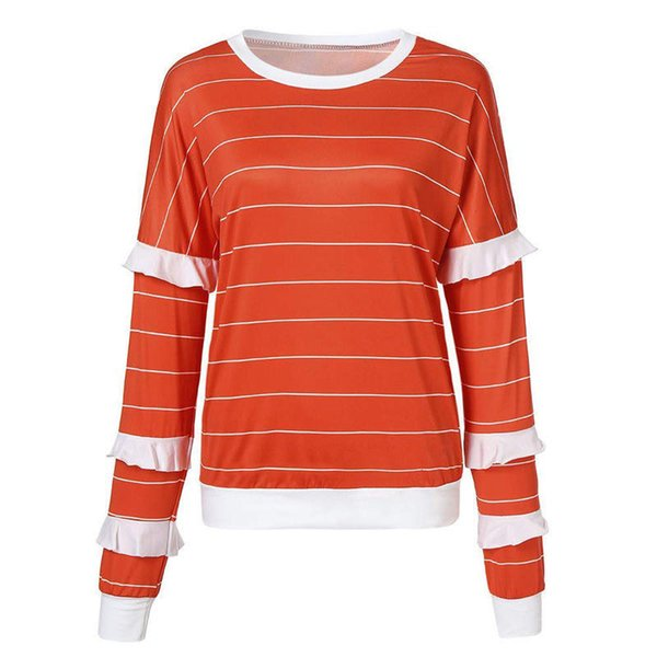Women Autumn Long Sleeve Casual T-Shirts Ladies Striped Tops Round Neck Pullover Jumper