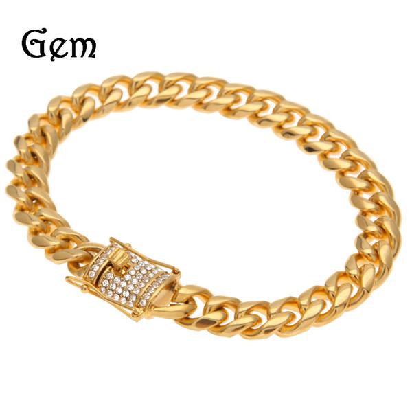 Stainless Steel Men Hip Hop Bracelets 10mm/22cm Long Miami Cuban Link Chain CZ Rhinestone Bling Bling Bracelet Fashion Jewelry