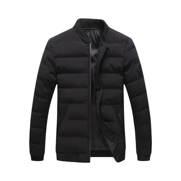 Parka et vestes d'hiver pour hommes 2018 New Warm épaissir manteau court col montant Stand New Male solide coupe-vent Outwear vêtements de jeunesse 4XL