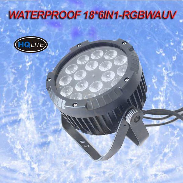Free shipping 1 years warranty 18X18W Silent IP65 Waterproof RGBAWUV 6in1 LED Par Light Outdoor LED Par Lamp
