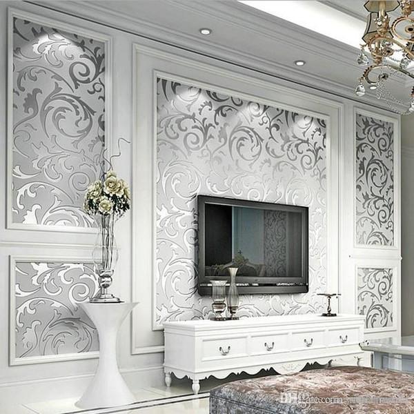 Großhandel 3D Luxury Europäischen Moderne Tapete Vlies Wandbild Tapeten  Rolle Silber Golden Wohnzimmer Sofa TV Hintergrund 10 Mt 3D Tapeten Von ...