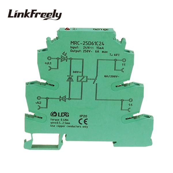 MRC-25D61C24 6A DC 24 V PLC Kurulu Gerilim Rölesi Din Ray Elektromanyetik İletişim Arabirimi Röle Modülü 5 V 12 V DC 1NO iletişim