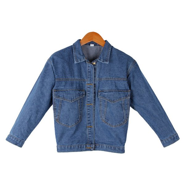 Regular Women Basic Coats Women Denim Jacket Vintage Long Sleeve Loose Female Jeans Coat Casual Girls Outwear Wide-waisted