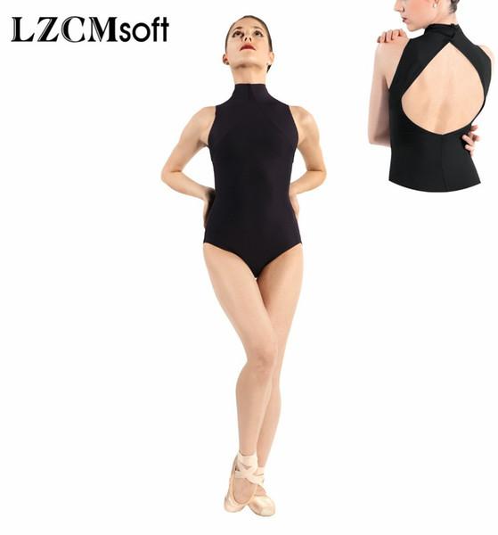 Lzcmsoft Women Sexy Black Sleeveless Leotards Open Back Spandex Turtleneck Ballet Leotards Dance Tops Team Stage Performance