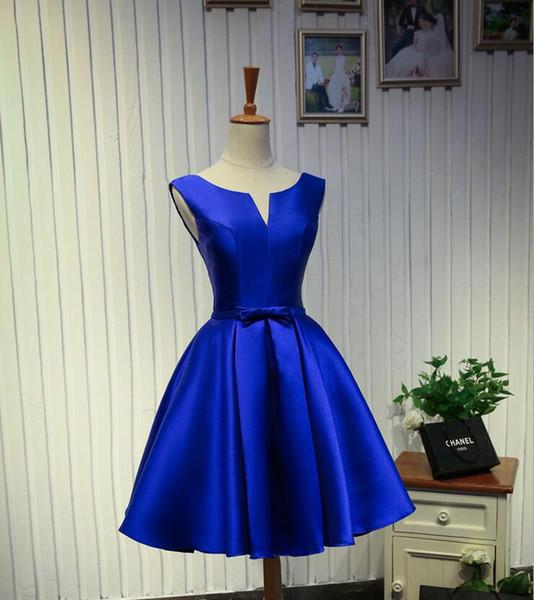 Compre En Stock Barato Azul Negro Vestido De Fiesta Corto Scoop Satin Bow Una Línea Corta Mini Cóctel Prom Vestidos Graduación Vestido De Dama De