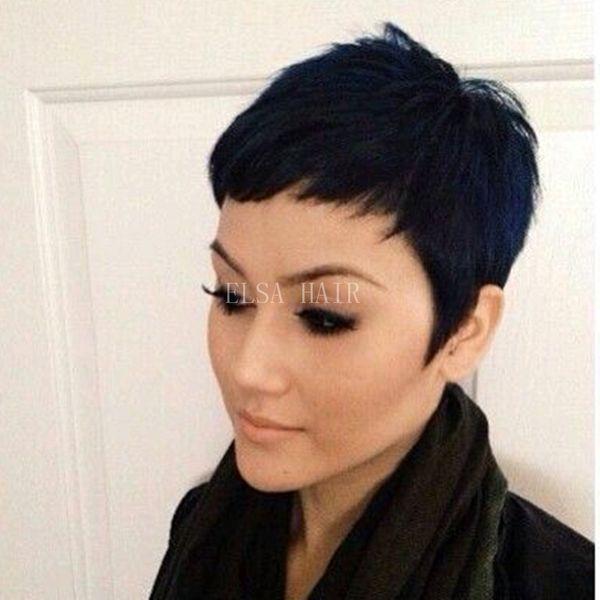 İnsan Saç peruk Yapılan Makine Kısa Düz İnsan Saç Peruk Peri Kesim Peruk 8A Bakire Brezilyalı Hiçbir Dantel İnsan Saç Peruk