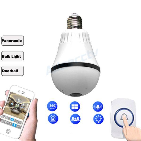 960P IP Wi-Fi Wireless Camera Panoramic View Bulb Shape Home Security CCTV Camera Fisheye Lamp 360 Degree Night Vision AS-IPB203Y
